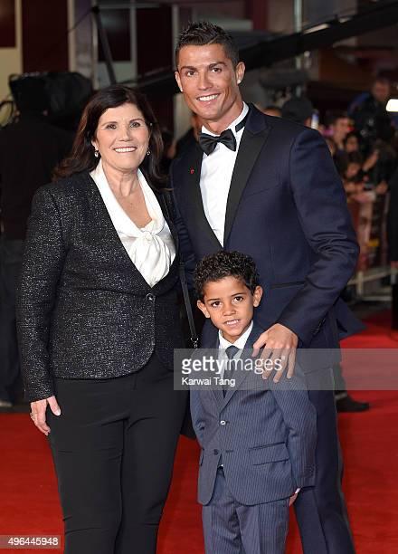 "Maria Dolores dos Santos Aveiro, Cristiano Ronaldo and son Cristiano Ronaldo Jnr attend the World Premiere of ""Ronaldo"" at Vue West End on November..."