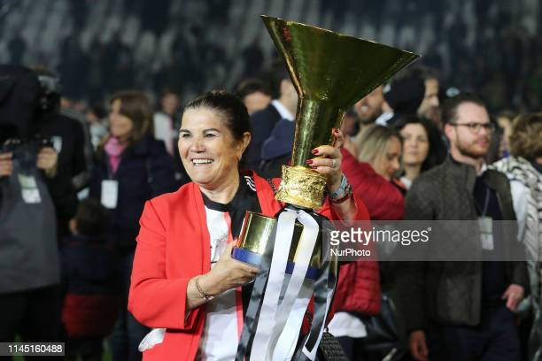 Maria Dolores dos Santos Aveiro, Mather of Cristiano Ronaldo with the trophy of Scudetto during the victory ceremony following the Italian Serie A...