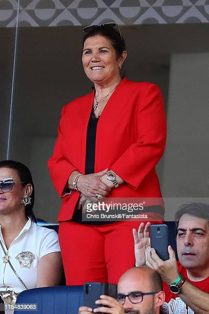 Maria Dolores dos Santos Aveiro, mother of Cristiano Ronaldo of Portugal, looks on during the UEFA Nations League Final between Portugal and the...