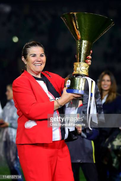 Maria Dolores dos Santos Aveiro, mother of Cristiano Ronaldo of Juventus, celebrates with the Serie A trophy following the Serie A match between...