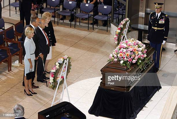 Maria Doug Rich and Betty DeVos pay their respects to former first lady Betty Ford following the arrival ceremony at the Gerald R Ford Presidential...