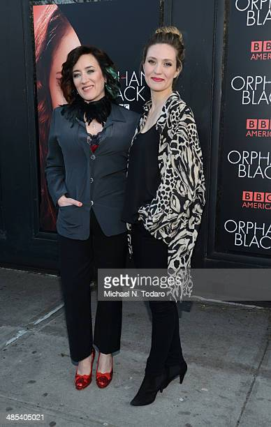 Maria Doyle Kennedy and Evelyn Brochu attend the Orphan Black premiere at Sunshine Cinema on April 17 2014 in New York City