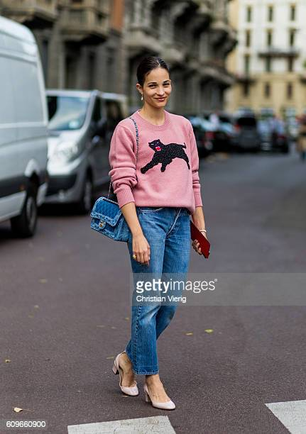 Maria Duenas Jacobs wearing a pink Gucci sweater is seen outside Alberta Ferretti during Milan Fashion Week Spring/Summer 2017 on September 21 2016...
