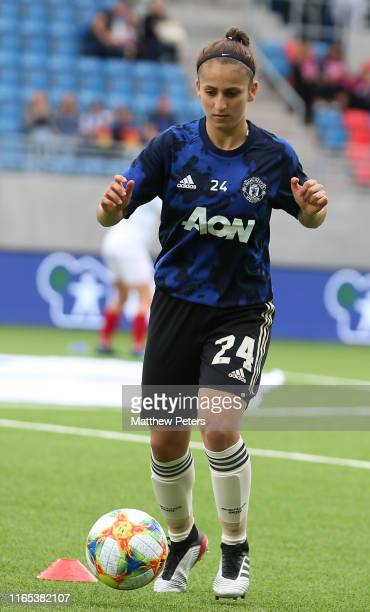 Maria Edwards of Manchester United Women warms up ahead of the preseason friendly match between Valerenga and Manchester United Women at Intility...