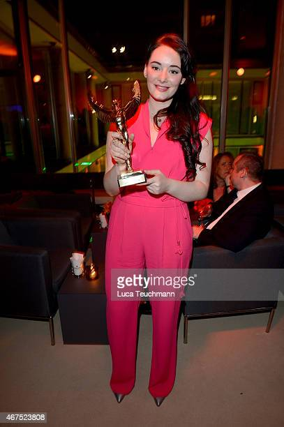 Maria Ehrich poses with her prize during the Jupiter Award at Cafe Moskau on March 25 2015 in Berlin Germany