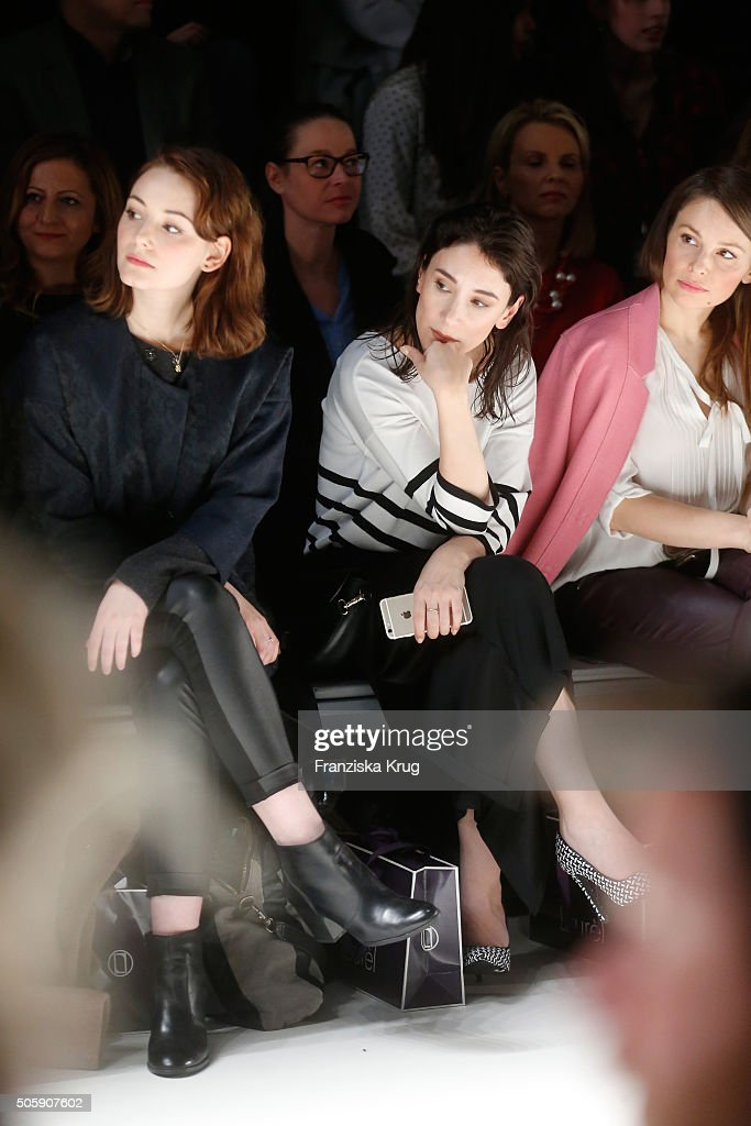 Maria Ehrich, Sibel Kekilli and Mina Tander attend the Laurel show during the Mercedes-Benz Fashion Week Berlin Autumn/Winter 2016 at Brandenburg Gate on January 20, 2016 in Berlin, Germany.