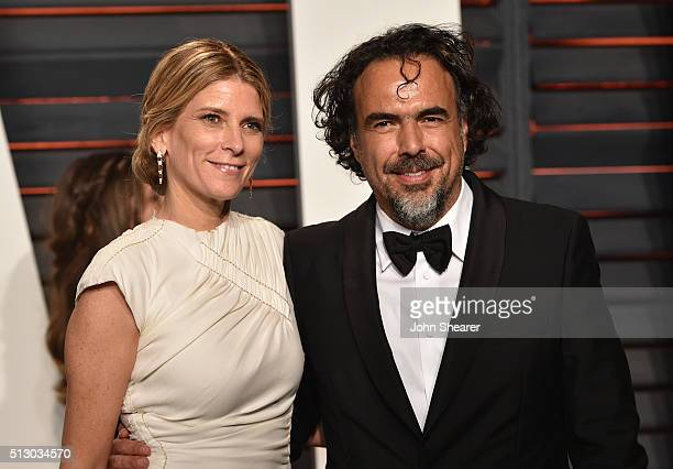 Maria Eladia Hagerman and director Alejandro Gonzalez Inarritu arrive at the 2016 Vanity Fair Oscar Party Hosted By Graydon Carter at Wallis...