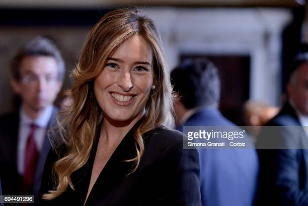 Maria Elena Boschi during the visit of Pope Francis to the Quirinale on June 10 2017 in Rome Italy