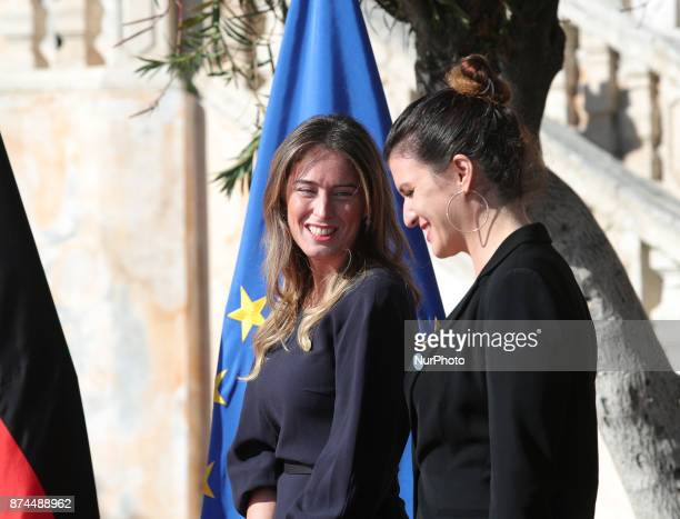 Maria Elena Boschi of Italy and Marlene Schiappa of France during G7 Ministerial Meeting on Gender Equality held in Taormina Italy on 1516 November...