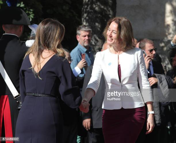 Maria Elena Boschi of Italy shakes hands to Katarina Barley of Germany during G7 Ministerial Meeting on Gender Equality held in Taormina Italy on...