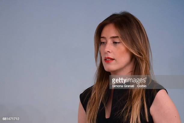 Maria Elena Boschi speaks during a presentation for the book 'ItaliaSicura' at Palazzo Chigi on May 10 2017 in Rome Italy Maria Elena Boschi has been...