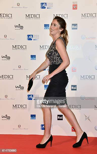 Maria Elena Boschi walks a red carpet for 'I Medici' on October 14 2016 in Florence Italy