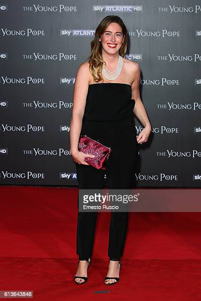 Maria Elena Boschi walks the red carpet at 'The Young Pope' premiere at The Space Cinema on October 9 2016 in Rome Italy