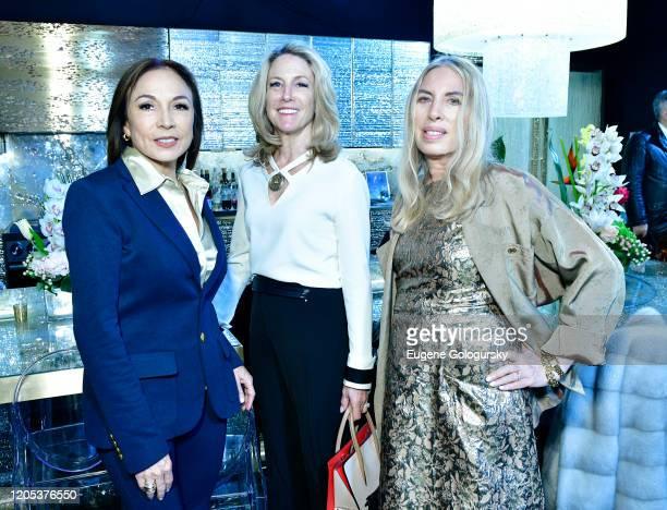 Maria Elena Christiansen Michelle Russel Johnson and Lauren Lawrence attend the Andrea Bocelli Foundation Lillian Gorbachincky Present First Annual...