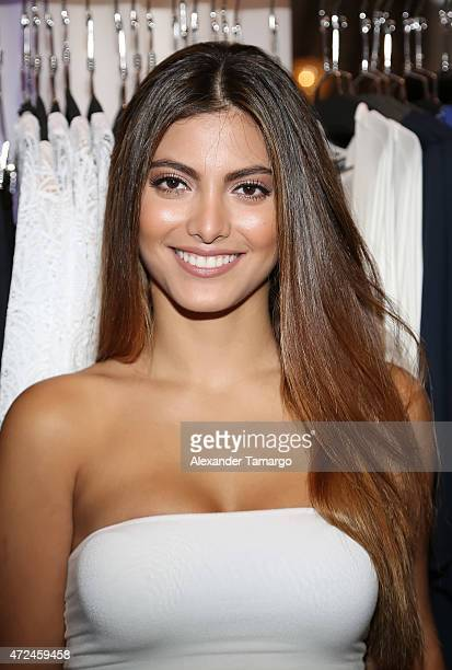 Maria Elena Davila poses at Studio LX during the clothing launch of Chiquinquira Delgado in collaboration with David Lerner on May 7 2015 in Miami...
