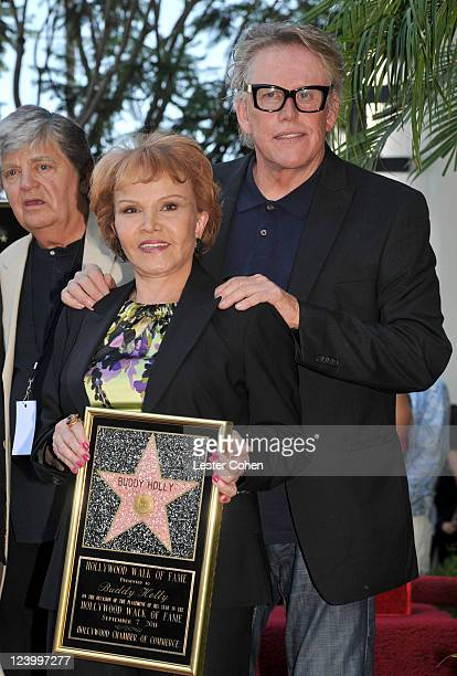 Maria Elena Holly and actor Gary Busey attend a ceremony honoring Buddy Holly with the 2447th Star on the Hollywood Walk of Fame on September 7 2011...