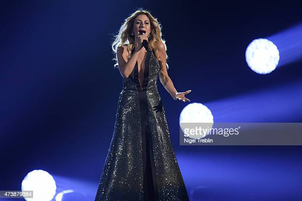 Maria Elena Kyriakou of Greece performs during a rehearsal of the first Semin Final on May 18, 2015 in Vienna, Austria. The final of the Eurovision...