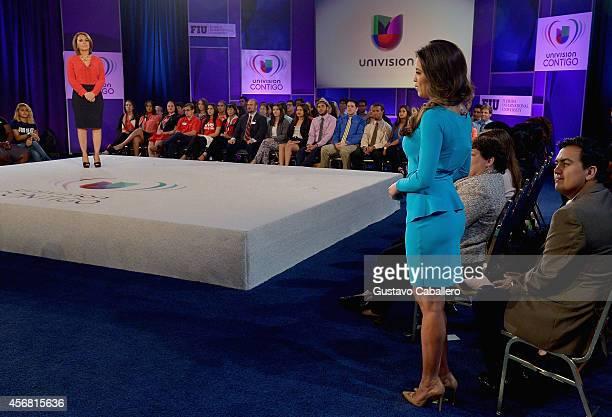 Maria Elena Salinas and Pamela Silva Conde attends Univisions 4th Annual Education Week at Florida International University on October 7 2014 in...