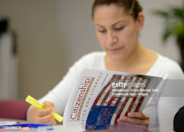 Maria Elena Sanchez takes a practice U.S. Citizenship test at el Comite in Longmont on Thursday.