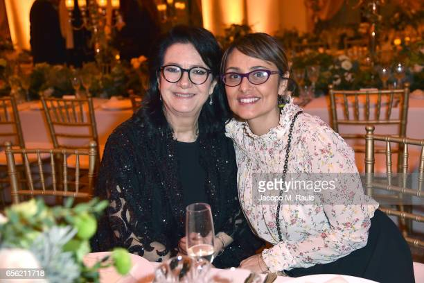 Maria Elena Viola and Antonella Antonelli attend a dinner for 'Damiani - Un Secolo Di Eccellenza' at Palazzo Reale on March 21, 2017 in Milan, Italy.