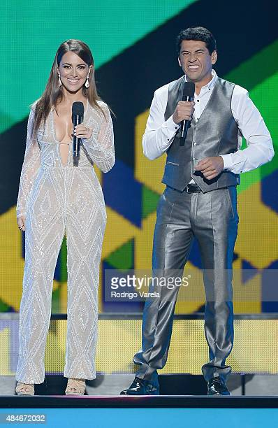 Maria Elisa Camargo and Gabriel Porras onstage at Telemundo's Premios Tu Mundo Awards 2015 at American Airlines Arena on August 20 2015 in Miami...