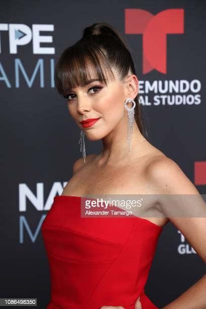 Maria Elisa Camargo arrives at Telemundo Global Studios Celebration during NATPE Miami 2019 at the Eden Roc Hotel on January 22 2019 in Miami Beach...