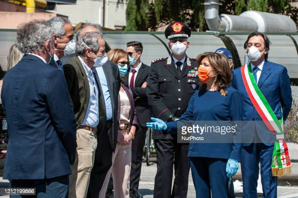 Maria Elisabetta Alberti Casellati arrives at the Hospital of Padua and greets the various institutional offices in Padua Italy on May 8 2020 The...