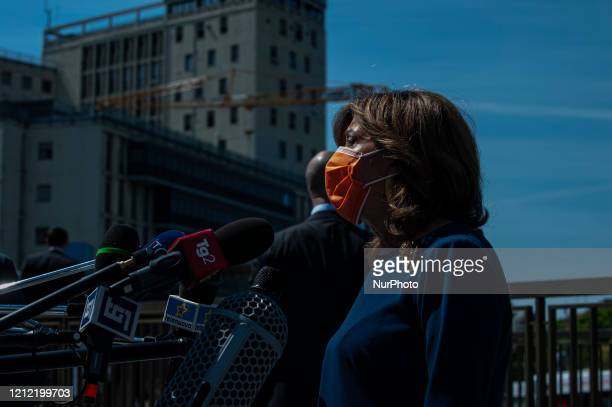 Maria Elisabetta Alberti Casellati speaks during the visit to the hospital of Padua in Padua Italy on May 8 2020 The President of the Senate of the...