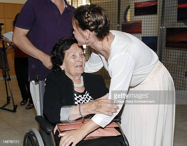 Maria Esteve and her grandmother attend her picture exhibition 'De Malaga Al Cielo' on May 16, 2012 in Malaga, Spain.