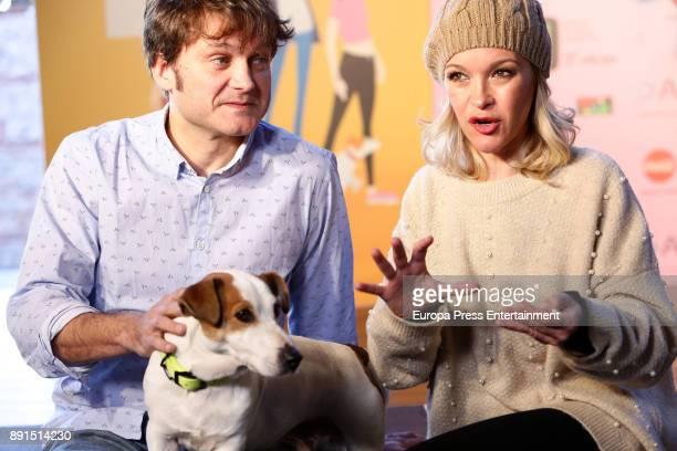 Maria Esteve Salva Reina and the dog Ramses attend the Presentation of 'Sabuesos' TVE during Mim Series Festival on December 12 2017 in Madrid Spain