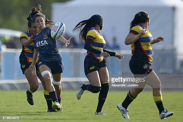 Maria Eugenia Botelli of Argentina in action against Colombia during the International Womens Rugby Sevens - Aquece Rio Test Event for the Rio 2016...