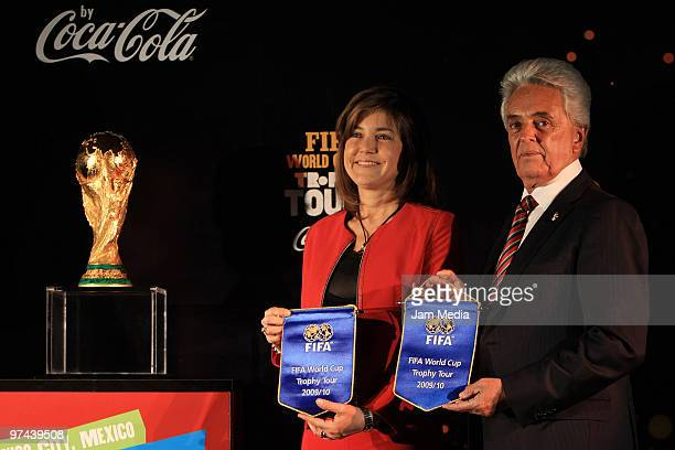 Maria Eugenia del Rio, Director of Coca-Cola Mexico, and Justino Compean, President of Mexican Soccer Federation, during the opening of the Fifa...