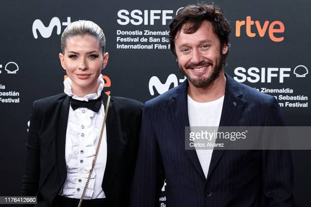 Maria Eugenia Suarez and Benjamin Vicuna attend 'La Trinchera Infinita ' premiere during 67th San Sebastian Film Festival at Kursaal San Sebastian on...