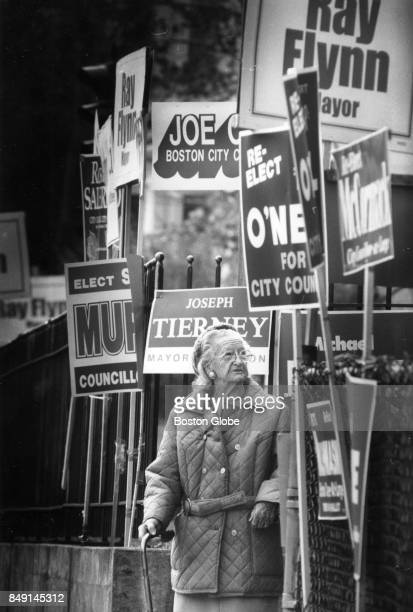 Maria Ewing leaves after voting at the Patrick O'Hearn School in the Dorchester neighborhood of Boston Nov 3 1987