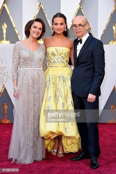 Maria Fahl Vikander, actress Alicia Vikander and Svante Vikander attend the 88th Annual Academy Awards at Hollywood & Highland Center on February 28,...