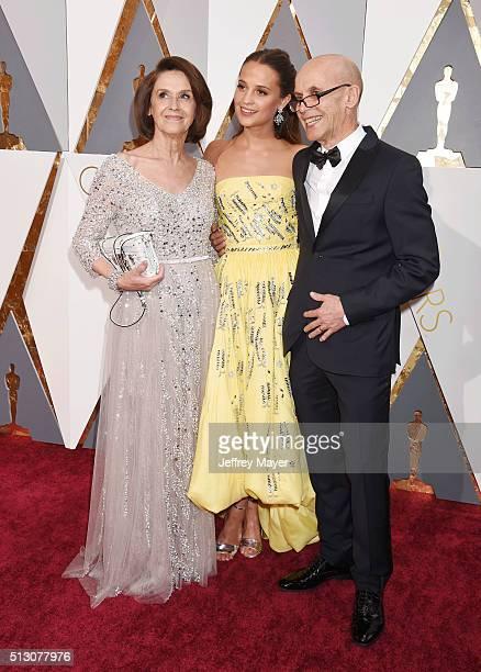 Maria Fahl Vikander actress Alicia Vikander and Svante Vikander attend the 88th Annual Academy Awards at Hollywood Highland Center on February 28...