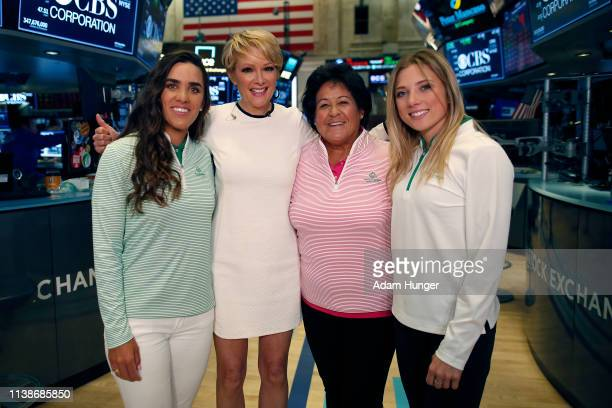 Maria Fassi Gerri Willis Nancy Lopez and Sierra Brooks at the New York Stock Exchange for the Augusta National Women's Amateur press tour on March 27...