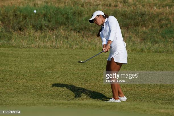 Maria Fassi of Mexico chips to the second hole during the Third Round of the Volunteers of America Classic golf tournament at the Old American Golf...