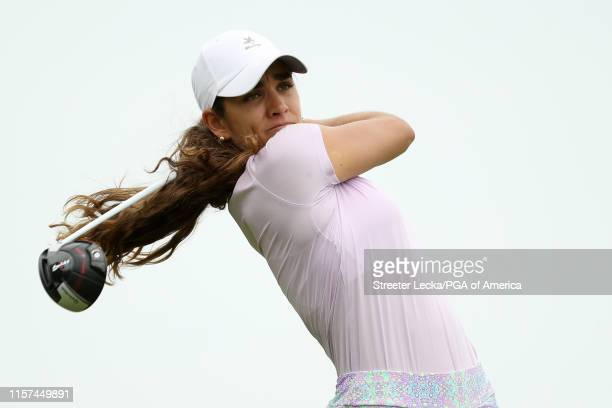 Maria Fassi of Mexico hits her tee shot on the third hole during the second round of the KPMG PGA Championship at Hazeltine National Golf Club on...