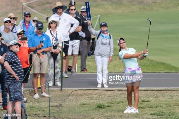 Maria Fassi of Mexico hits towards the 18th hole during day three of the 2020 ISPS HANDA Women's Australian Open at Royal Adelaide Golf Club on...