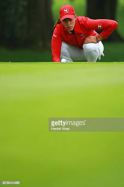 Maria Fassi of Mexico lines up a putt during the final round of the Lorena Ochoa Invitational 2016 at Club de Golf on November 13 2016 in Mexico City...