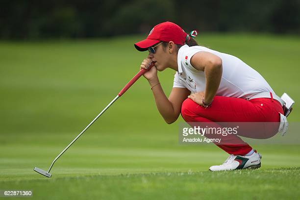 Maria Fassi of Mexico lines up a putt during the third round of the Lorena Ochoa Invitational at Club de Golf Mexico in Mexico City Mexico on...