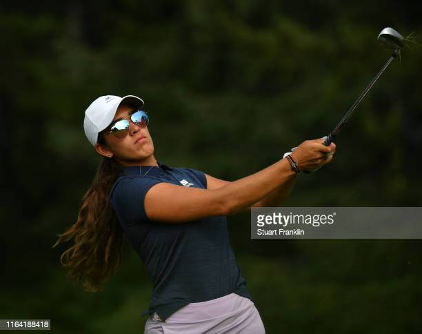 Maria Fassi of Mexico plays a shot during day 1 of the Evian Championship at Evian Resort Golf Club on July 25 2019 in EvianlesBains France