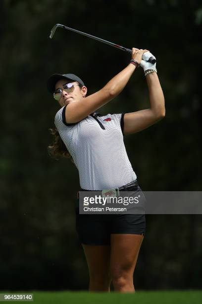 Maria Fassi of Mexico plays a tee shot on the 13th hole during the first round of the 2018 US Women's Open at Shoal Creek on May 31 2018 in Shoal...