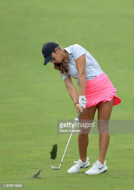 Maria Fassi of Mexico plays her second shot on the par 4 18th hole during the final round of the 2019 KPMG Women's PGA Championship at Hazeltine...