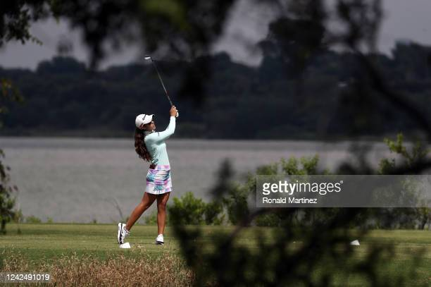 Maria Fassi of Mexico plays her shot from the 11th tee during the first round of the Energy Producers Inc Texas Women's Open on June 02 2020 in The...