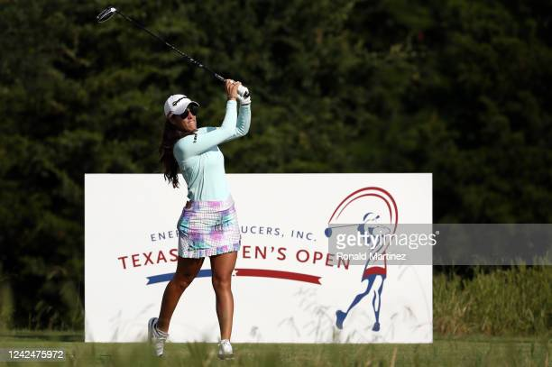 Maria Fassi of Mexico plays her shot from the 18th tee during the first round of the Energy Producers Inc Texas Women's Open on June 02 2020 in The...