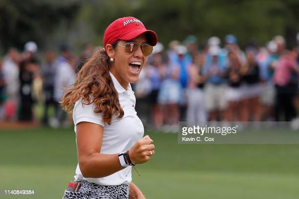 Maria Fassi of Mexico reacts to her birdie on the 14th green during the final round of the Augusta National Women's Amateur at Augusta National Golf...