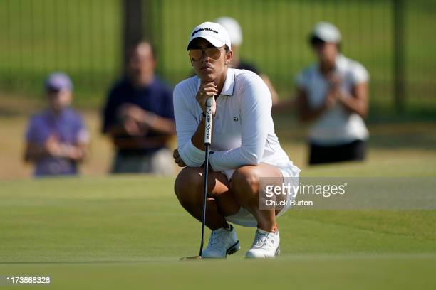 Maria Fassi of Mexico waits to putt on the third hole during the Third Round of the Volunteers of America Classic golf tournament at the Old American...