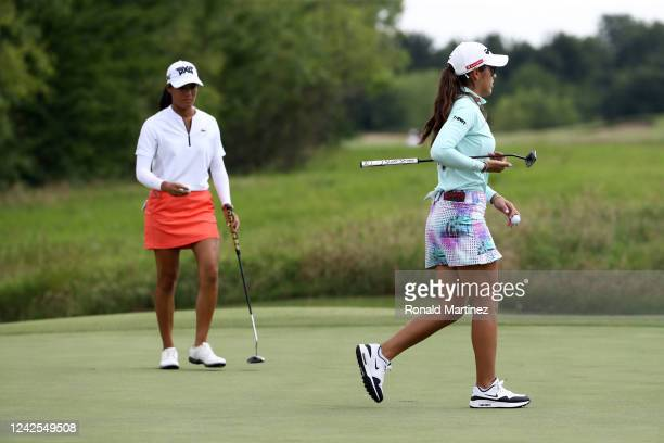 Maria Fassi of Mexico walks past Celine Boutier of France during the first round of the Energy Producers Inc Texas Women's Open on June 02 2020 in...